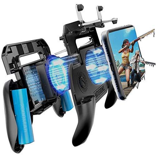 Ajustable juego móvil Controller, juego del teléfono celular Activadores teclas sensibles al AIM, juego de disparo Joystick Gamepad Grip for Android y el IOS Smartphone con ventilador de refrigeración