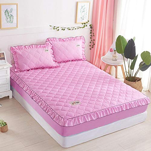 lhmlyl Double Mattress Protectorbed Sheet Single Piece Cotton-Filled Thick Mattress Protection Cover Non-Slip Fixed Bed Cover All-Inclusive Dust Cover-Pink_180X200【Padded Cotton Single Bed】