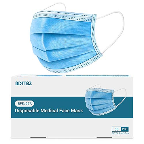 Disposable Face Mask 50pcs, Medical Grade Face Masks, 3 Ply Lightweight Breathable Non-Woven with Adjustable Elastic Earloops and Metal Nose Clip Safety Mask, Blue