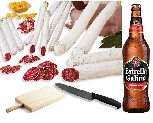 Pack FUET + CERVEZA. Pack de 3 Fuets - BonBouquet - y Estrella Galicia 6 ud. x 25 cl. (Fuets Variados + Cervezas + Tabla + Cuchillo de Corte) (FUETS VARIADOS)