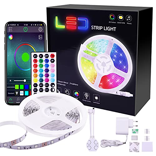 Tymleap Tira de Luces LED 10M RGB, Tira de Luces LED Flexible con Controlador que Puede Cambiar el Modo de Luz, se usa en el Dormitorio, Decoración de Cocina, TV, Fiesta, Etc.