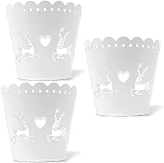 BANBERRY DESIGNS Christmas Candle Holders - Round Metal Candleholders - Set of 3 Reindeer and Heart Cut-Out Design Includes a Votive Glass Holder Insert