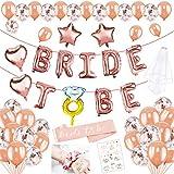 HOWAF 45pcs Bride To Be Globos Banner para Fiestas de Despedida de Soltera Decoraciones, Globos de Oro Rosa, Confetti Globos y Bride to be Banda Despedida de Soltera Accesorios