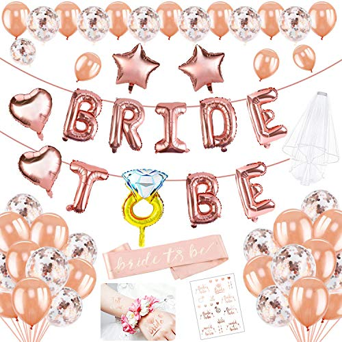 HOWAF 45 Stück Rose Gold JGA Deko Luftballons Set, Folienballons Bride to Be Banner, Schärpe, Schleier, Junggesellinnenabschied Tattoo, Rosegold Luftballons Konfetti Ballons, JGA deko Accessoires