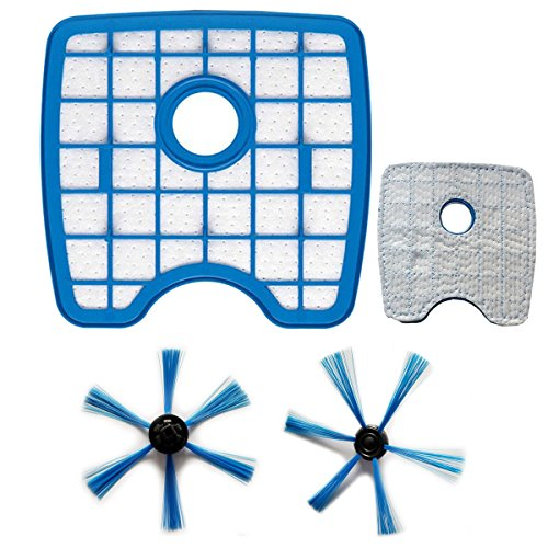 TeKeHom FC8066 FC8068/01 Filtro Hepa + cepillo lateral * 2 Set para Philips SmartPro Active FC8810/FC8820/FC8830/FC8832/FC8930 accesorio robot de aspiradora
