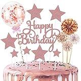 14 Piezas de Pastel de Cumpleaños Feliz, Globos de Confeti Oro Rosa, Estrellas y Ventiladores de Papel para la Decoración de la Torta de Cumpleaños