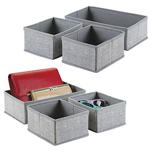 mDesign set da 6 scatole in tessuto – Portaoggetti e portabiancheria per la casa – Ideale per vestiti, coperte e biancheria – Colore: grigio