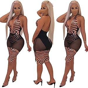 Women Sexy Sequin Dress - Halter V Neck Sleeveless Mesh Bodycon Evening Party Club Night Wear