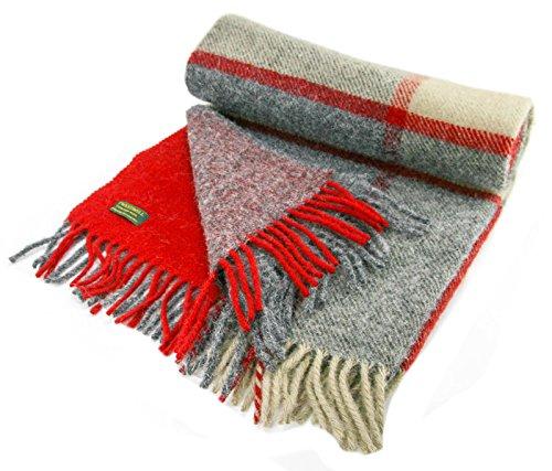 Tweedmill Textiles , Decke Red/Slate/Beige 70 x 180cm