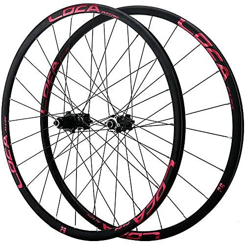 ZFF 26/27.5/29 Pollici Mountain Bike Set di Ruote Freno A Disco Ruote MTB Lega di Alluminio Rim Bicicletta Ruota Rilascio Rapido 24 Buche Micro Spline 12 velocità (Color : Red, Size : 26in)