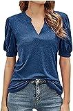 Onsoyours Camiseta de Manga Corta Mujer Blusa de con Cuello en V Sexy de Verano Camisas T-Shirt Sólido Casual Shirt Top A Azul S