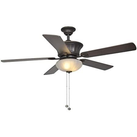 Hampton Bay Edenwilde 52 Inch Indoor Oil Rubbed Bronze Ceiling Fan With Light Kit Amazon Com