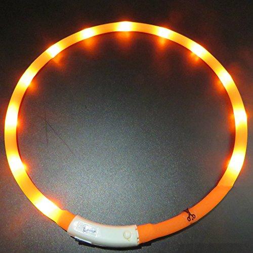 LaiXin LED Hundehalsband Aufladbar, Halsband Hund Silikon Leuchtende Reflektierend wasserdichte Ausziebar wasserdichte, 35cm, Orange