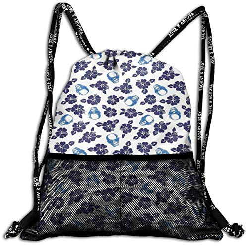 AZXGGV Drawstring Backpack Rucksack Shoulder Bags Gym Bag Sport Bag,Tropical Hibiscus Flowers with Cool Skull Sunglasses Foliage Silhouette