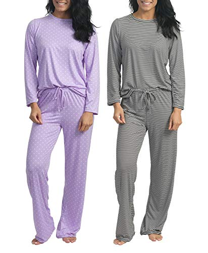 2 Pack: Womens Long Sleeve AOP Striped Pajama Sets Ladies Soft Winter Fall Sleepwear Pajamas Clothes Loungewear Long Sleeve Tops Pants Christmas Pj Sets for Women - Set 5 XL