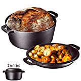 Heavy Duty Pre-Seasoned 2 In 1 Cast Iron Double Dutch Oven Set and Domed 10 inch Skillet Lid,...