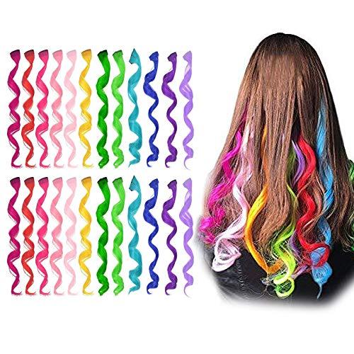 Farbiger Haarverlängerungs Clip, Comius Sharp 24 Stück Multi Colors Clip in Lockenverlängerungen, Synthetische Long Highlights Hair Pieces Extensions für Kinder, Mädchen und Frauen