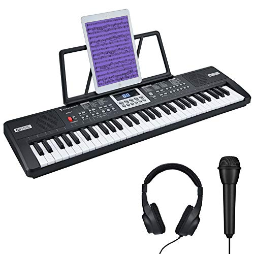 Starfavor 61 Key Kids Electric Keyboard Electronic Piano Small-Sized-Key for Child Beginner, with Power Supply, Built In Speakers, LED Screen, Microphone, Headphone (SEK-361)