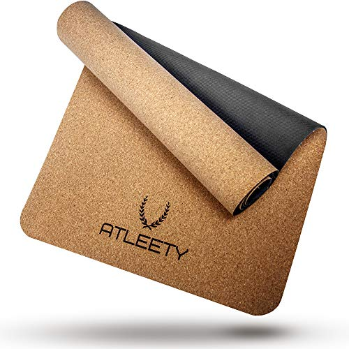 ATLEETY® Kork und Naturkautschuk Yogamatte - natürliche Gymnastikmatte - rutschfest, nachhaltig, schadstofffrei, geruchsarm