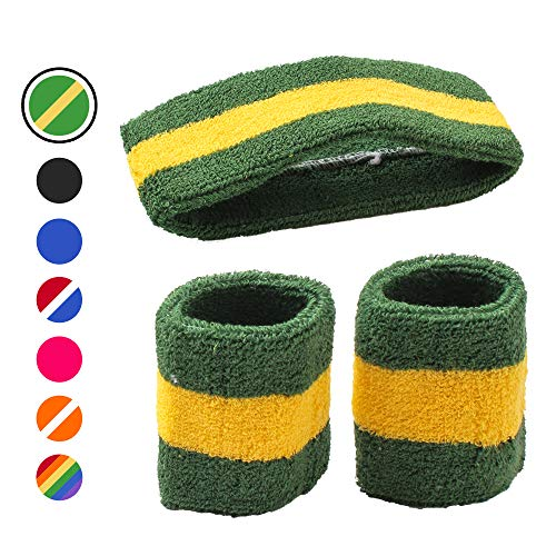 AFLGO Sweatband Set for Sports, Workout, Training & Exercise 1 Headband & 2 Wristbands Cotton to Pair with Your Athletic Costume Apparel Comfy & Durable Sport Accessories for Men & Women (Green/White)