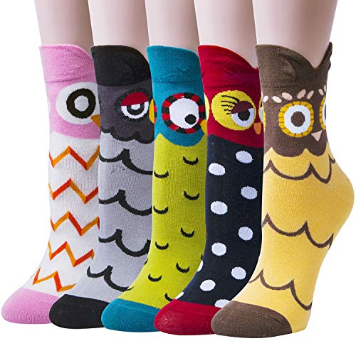 Chalier 5 Pairs Womens Funny socks Cozy Cute Printed Patterned Fun Socks Novelty Cat Socks for Women Gifts