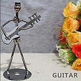 ZHANGJ 8 Style 13 cm Fer Bande de Musique poupée métal Musicien modèle Artisanat Bureau décoration de la Maison, Figurine de Guitare électrique, 2,3x5,1 Pouces