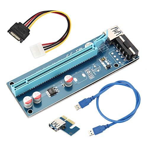 Daxerg 60 cm PCIE 1X tot 16X PCI expressieve riser-kaart voor Bergmann-machine overstroombeveiliging USB-kabel SATA naar 4 pennen-energiekabel