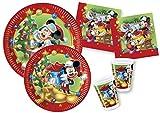 Ciao-Kit Party Tavola Disney Mickey/Minnie Natale persone (130 pezzi Ø23cm, piatti Ø20cm, 30 bicchieri plastica 200ml, 40 tovaglioli carta 33x33cm) Topolino, Multicolore, Y4476