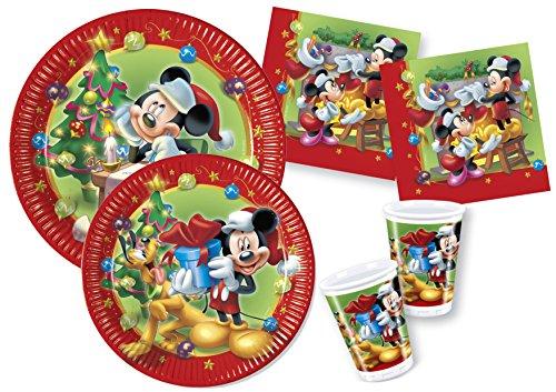 Ciao- Kit Party Tavola Disney Mickey / Minnie Natale per 30 persone (130 pezzi: 30 piatti carta Ø23cm, 30 piatti carta Ø20cm, 30 bicchieri plastica 200ml, 40 tovaglioli carta 33x33cm), Y4476