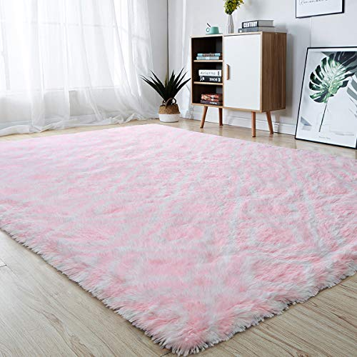 junovo Soft Area Rugs Fluffy Modern Geometric Rugs for Bedroom Living Room, Shaggy Floor Carpets Large Indoor Mat for Girls Boys Kids Room Nursery Home Decor, 5ft x 8ft Pink