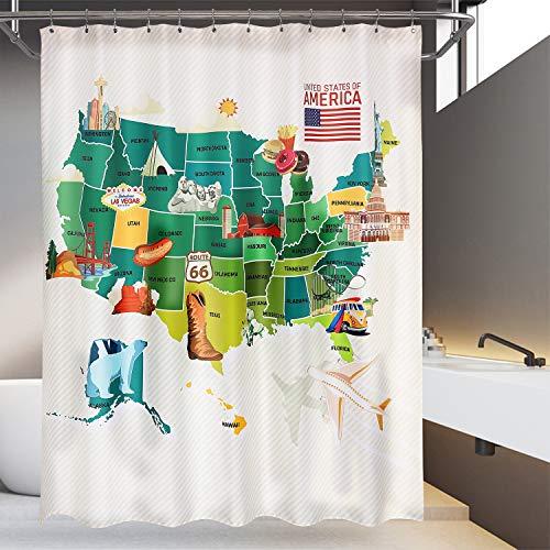 Mrs Awesome Wasserabweisender bedruckter Duschvorhang oder Liner für Badezimmer, amerikanischer Landkarten-Stil, 175,3 x 182,9 cm, Schwarz