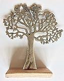 Hermoso soporte de aluminio pulido con diseño de árbol de la vida para decoración de joyas, ideal para regalo