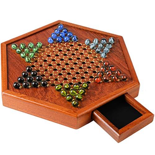 Tragbares Chinesisches Dame-brettspiel Holzbrettspiel Sechseckiges Chinesisches Dame-familienspiel-set Schubladenart Puzzle Bounce Holz-schachbrett