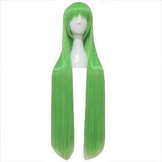 ウィッグ - ファッションショートストレート高温シルクかつらロールプレイングハロウィンボールのシンプルなパーソナリティ自然なソフトバングは、緑100cmを形作るために自由にすることができます (色 : Green, サイズ さいず : 100cm)