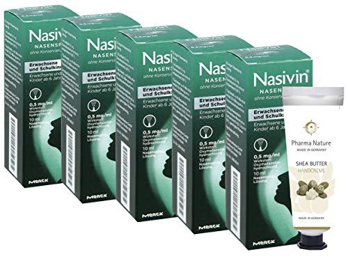Nasivin Nasenspray 10ml - 5er Sparset - ohne Konservierungsmittel - inkl. einer pflegenden Handcreme o. Duschbad von Pharma Nature