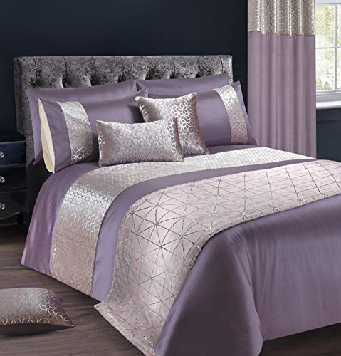 Intimates Velvet Sparkle/Bling Bedding Set Duvet/Quilt Cover and Pillowcase Set (Mauve, Super King)
