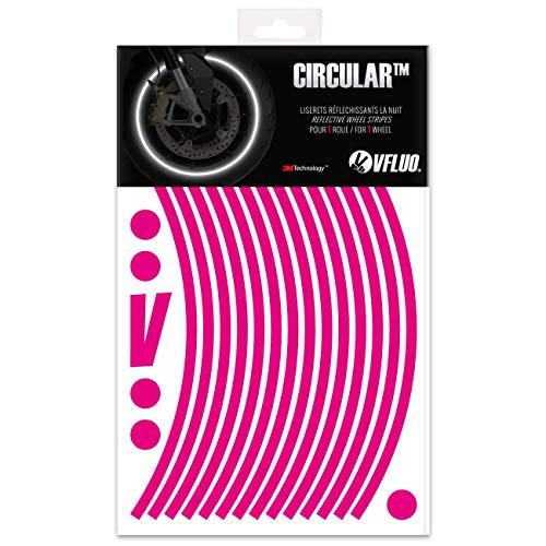 VFLUO Circular, Kit de Cintas, Rayas Retro Reflectantes para Llantas de Moto (1 Rueda), 3M Technology, Anchura Normal : 7 mm, Rosa