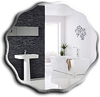 Qing MEI Bathroom Frameless Mirror Bathroom Wall Mirror Wavy Round Vanity Mirror Porch Decorative Mirror