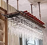 Soportes para copas Sostenedor del vidrio de vino Sostenedor del cubilete colgando estante del vidrio de vino bar escritorio Bar Club (80×30cm, Bronce)