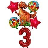 DIWULI, Gran Juego de Globos de Dinosaurios, 1x Globo Dino XXL + Globo número 3 XXL + 2X Globo de Estrella roja + 2X Globos de Papel de Aluminio Dino 3º cumpleaños, cumpleañero de niños