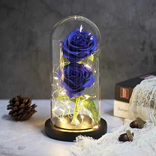 Bella y bestia Rosa Encantada, Flor Artificial Rosa de Seda con Luz...