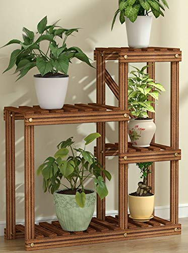 Medium Plant Stand - 4 Tier 5 Pots Plant Rack & Shelf Planter for Succulents, Flowers, Rose. Great for Indoor, Outdoor Display on Work & Office Desk and Desktop
