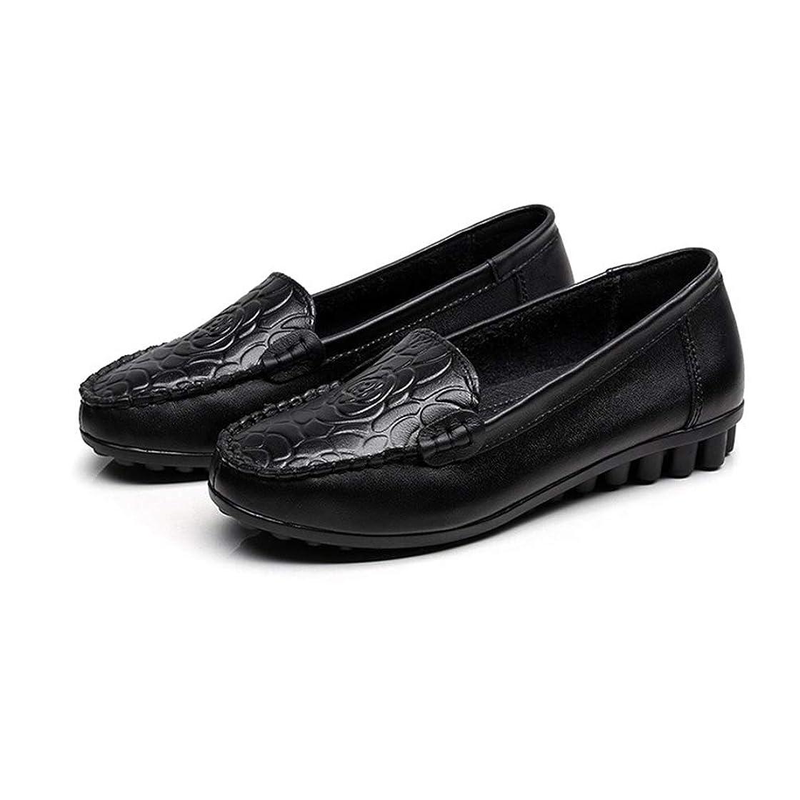 受け入れる上院議員気晴らし[Florai-JP] フラットシューズ パンプス 婦人靴 カジュアル 型押し 滑り止め ぺタンコ オフィス 快適 シンブル コンフォート ローヒール 可愛い 歩きやすい 柔らかい 通勤 秋 妊婦 フォーマル 大きいサイズ 軽い 22.5-25.5cm