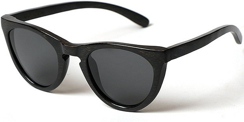 Men's Sunglasses Personality Wooden Frame for Men Handmade Cat Eyes Bamboo Sunglasses UV Predection Driving Beach Sunglasses (color   Black)