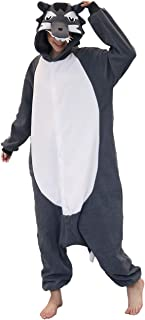 Adult Wolf Pajama,One-Piece Pajamas Animal Cosplay Costume for Women Men