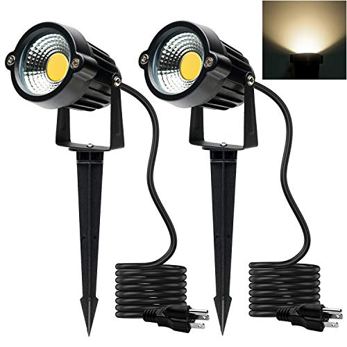 Focos LED para exteriores 5 W, 120 V CA, 3000 K, luz blanca cálida, uso exterior, luz de bandera, foco exterior con estaca para jardín, patio, césped (paquete de 2)