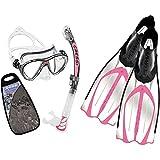 Cressi Big Eyes EVO Conjunto Combo de Snorkel, Unisex Adulto, Transparente/Rosa, Talla Única + Pluma Aletas de Buceo, Color Rosa (Pink) Tamaño 37/38