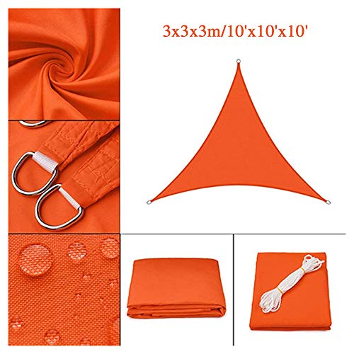 HOXMOMA Sun Shade Sail Triangle 10'x10'x10', imperméable UV Block Canopy 300D Oxford Fabric Durning Awning for Patio Backyard Garden Outdoor Facility and Activities,Orange