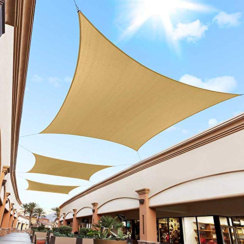 Royal Shade 16' x 16' Sand Beige Square Sun Shade Sail Canopy Outdoor Patio Fabric Shelter Cloth Screen Awning - 95% UV Protection, 200 GSM, Heavy Duty, 5 Years Warranty, Custom