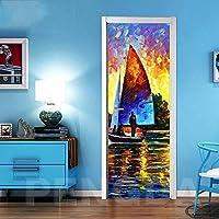 ZWYCEX ドアステッカー 印刷3Dドアの自己接着ステッカーハンドペイント風景の写真ポスターDIYのホームデコレーションのためにリビングルーム防水ステッカーアートワーク (Sticker Size : 77x200cm)